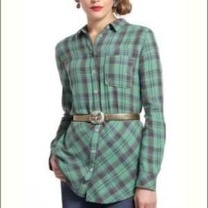 Anthropologie l Holding Horses Plaid Button Down